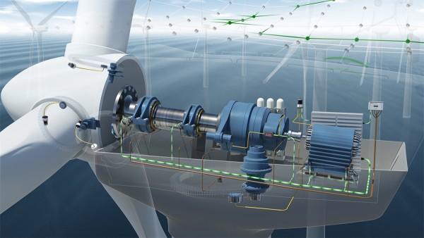 Dans le cadre du système de surveillance conditionnelle, sept capteurs d'accélération sont intégrés à l'entraînement de l'éolienne.