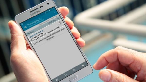 Les exploitants d'installations reçoivent des notifications par e-mail grâce au service numérique «ConditionAnaylzer» et peuvent facilement les visualiser sur leur appareil mobile.